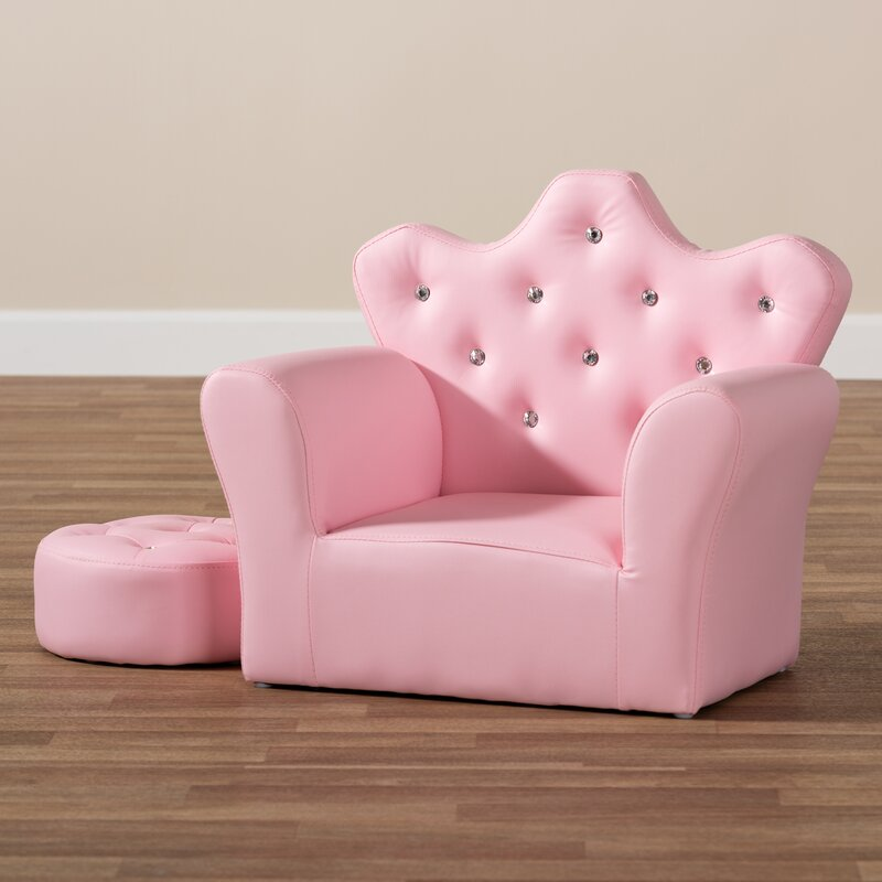 Amazing Helston Pink Kids Faux Leather Club Chair With Ottoman Alphanode Cool Chair Designs And Ideas Alphanodeonline