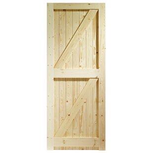 Unfinished Pine Wood Slab Exterior Door
