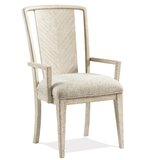 Javion Upholstered Slat Back Arm Chair in Champagne (Set of 2) by One Allium Way®