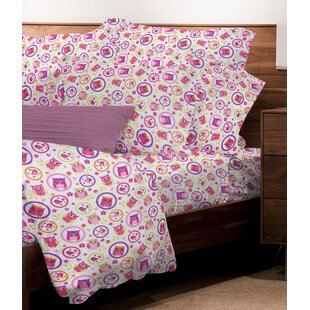 Nutter 4 Piece Juvenile Owls Floral Sheet Set