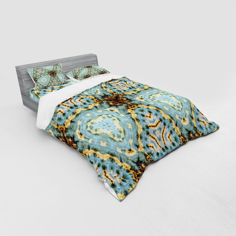 East Urban Home Classic Tie Dye Effect Batik Motif With Bizarre And Oriental Aesthetic Print Duvet Cover Set Wayfair
