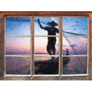 Fisherman Casts His Net At Sunset Wall Sticker By East Urban Home
