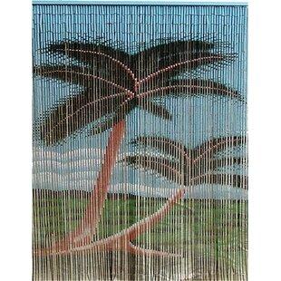 Porter Rayon Double Palm Tree Graphic Print Text Semi Sheer Single Curtain Panel