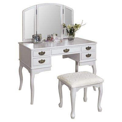 Falconer 3 Piece Vanity Set with Mirror Color: White by Darby Home Co