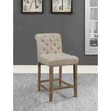 Stoker Tufted Upholstered Counter Stools Driftwood and Beige (Set of 2) (Set of 2) by Gracie Oaks