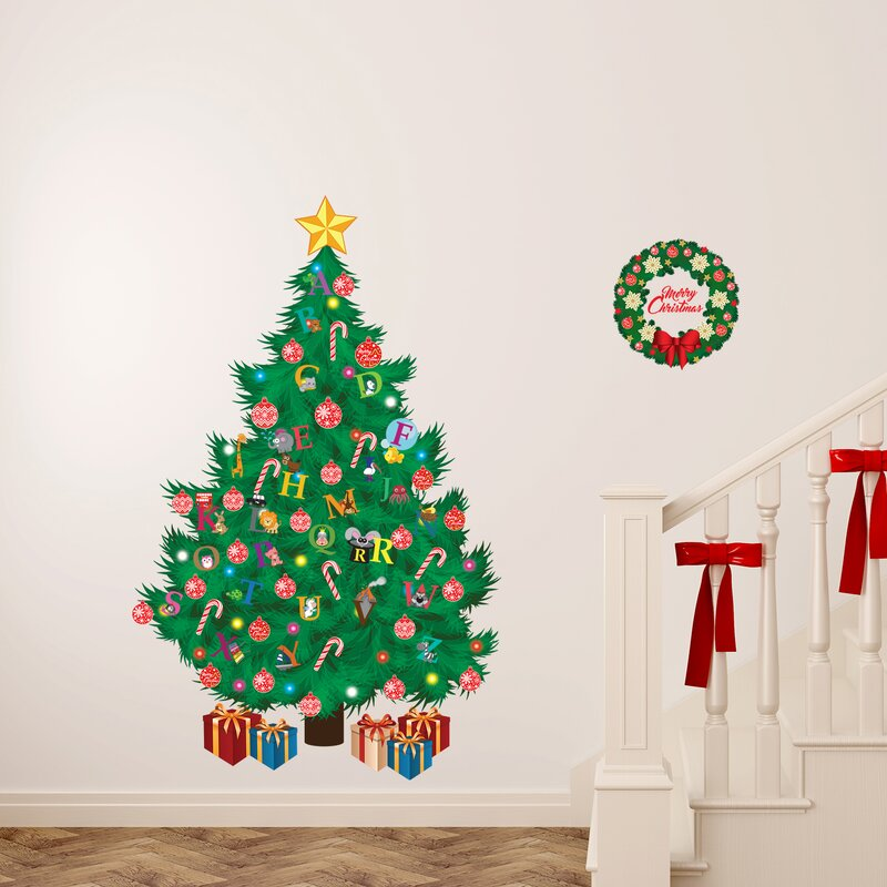 Learn the ABC and Traditional Christmas Tree Wall Decal
