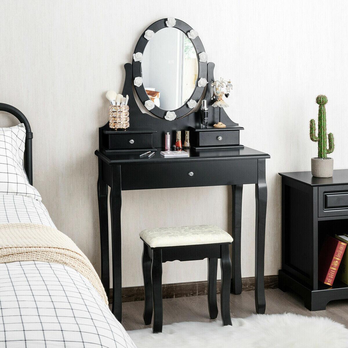 Rosdorf Park Roxana Vanity Set With Stool And Mirror Reviews Wayfair Ca
