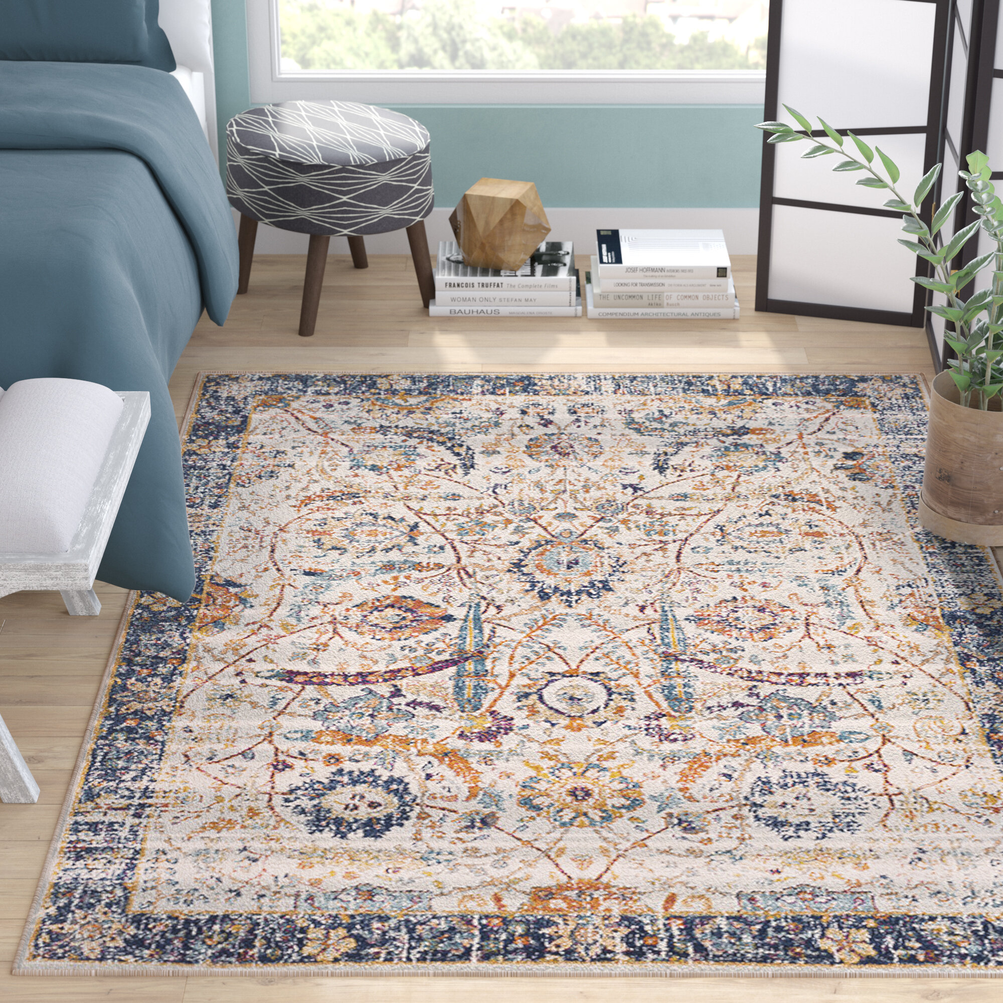 Mistana Hillsby Oriental Navy Beige Area Rug Reviews Wayfair