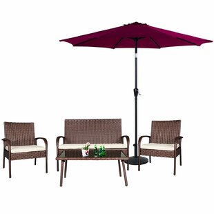Maryalice 5 Piece Rattan Sofa Seating Group with Cushions