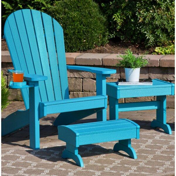 Bayou Breeze Kells 3 Piece Plastic Adirondack Chair Set | Wayfair