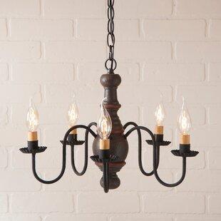 Gracie Oaks Vinoy Wood 5-Light Chandelier
