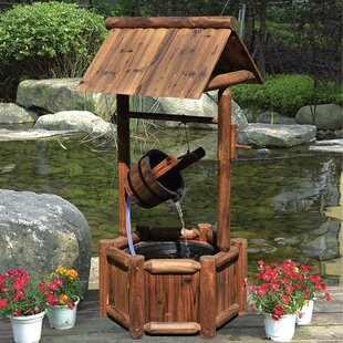 Wood Wishing Well Outdoor Water Fountain