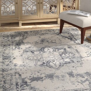 Best Price Lillo Gray/White Area Rug By Bungalow Rose