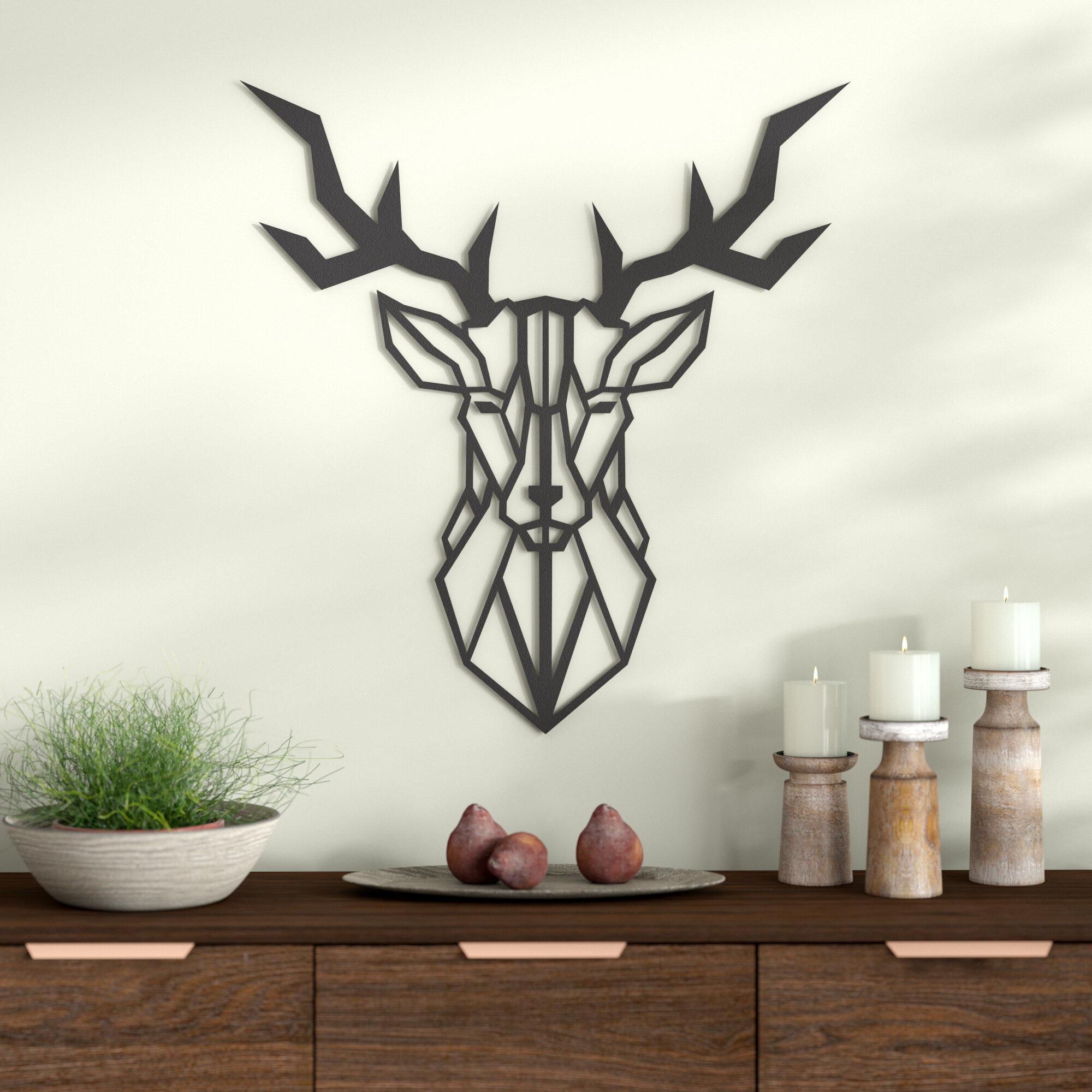 Geo Deer Modern Metal Wall Décor