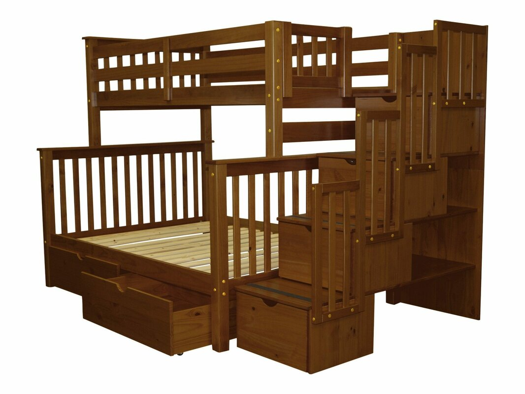 Bed Over Stair Box Google Search: Bedz King Stairway Twin Over Full Bunk Bed With Extra