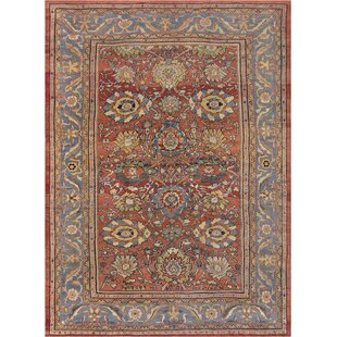 One-of-a-Kind Antique Sultanabad Handwoven Wool Brick Red/Blue Indoor Area Rug By Mansour