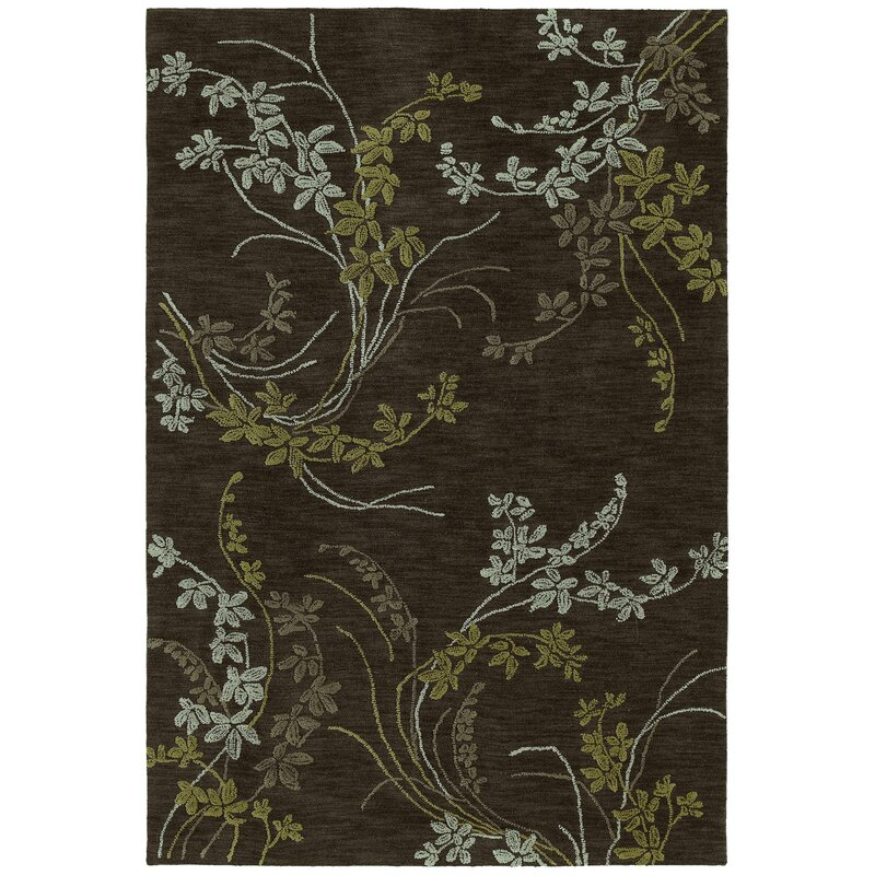 August Grove Allevard Hand-Tufted Wasabi Green/Dark Taupe Area Rug, Size: Rectangle 9 x 12