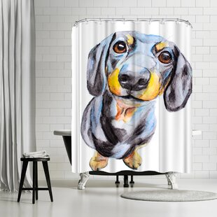 Allison Gray Dachshund Single Shower Curtain by East Urban Home Wonderful