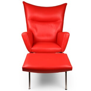 Ottoman Included Red Leather Chairs Youll Love Wayfair