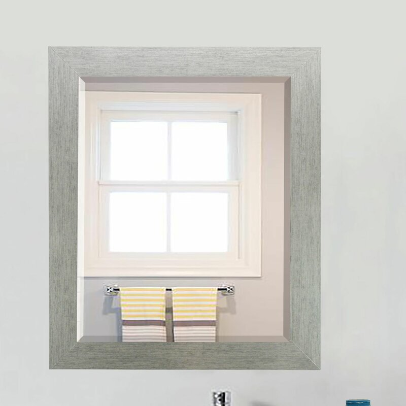 Beveled Wall Mirror brayden studio brushed silver beveled wall mirror & reviews | wayfair