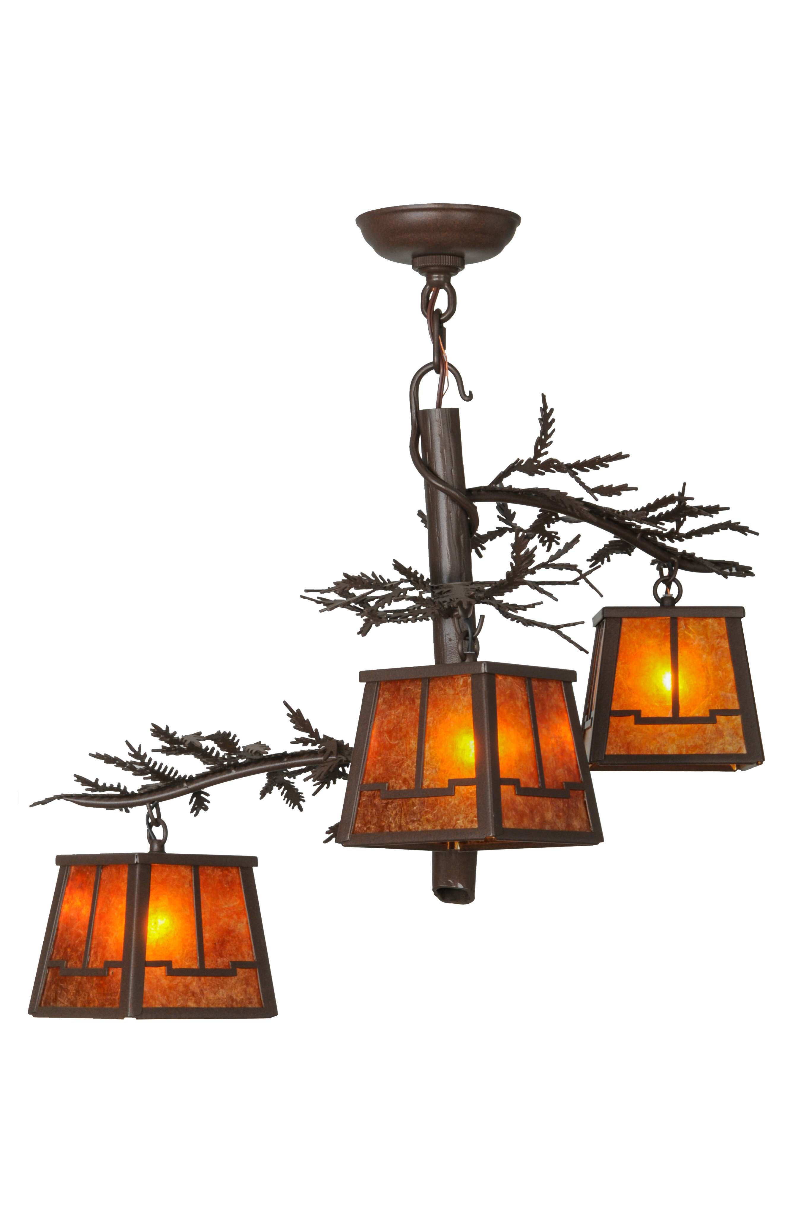 Meyda Tiffany Pine Branch Valley View 3 Light Shaded Classic Traditional Chandelier Wayfair