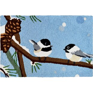 Bunny Chickadee and Pine Cone Utility Mat by The Holiday Aisle