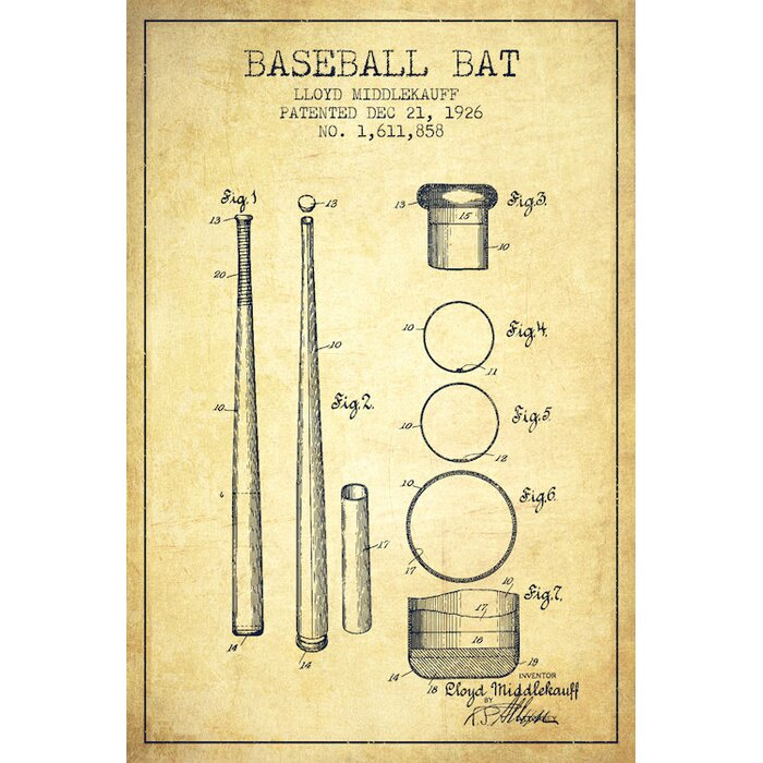 East urban home baseball bat vintage patent blueprint by aged baseball bat vintage patent blueprint by aged pixel graphic art on wrapped canvas malvernweather Image collections