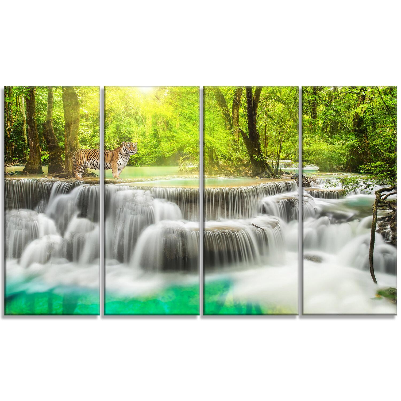 Designart Erawan Waterfall In Kanchanaburi 4 Piece Photographic Print On Wrapped Canvas Set Wayfair