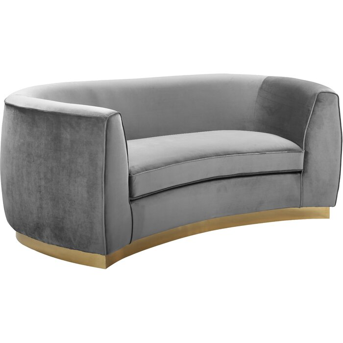 Antonsen Curved Loveseat: black [Good Plus Size Furniture For Extra Comfort]