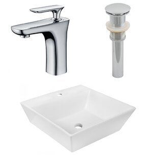 Budget Ceramic Square Vessel Bathroom Sink with Faucet By Royal Purple Bath Kitchen