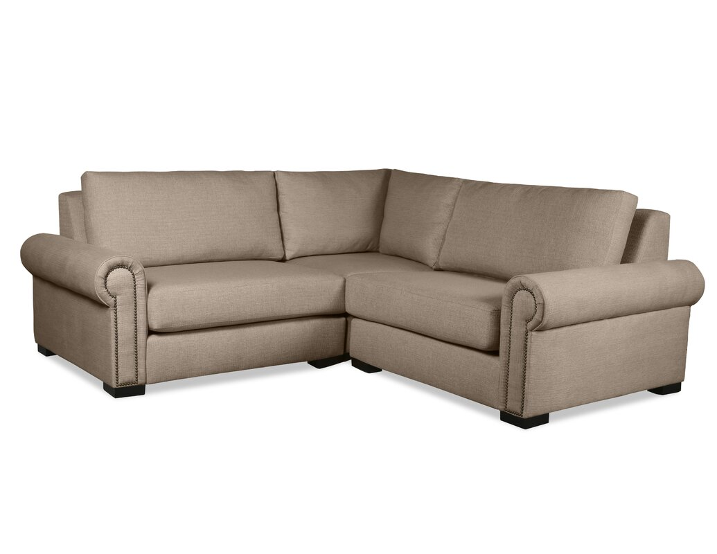 Darby home co lebanon l shape modular sectional with wood for L shaped couch name