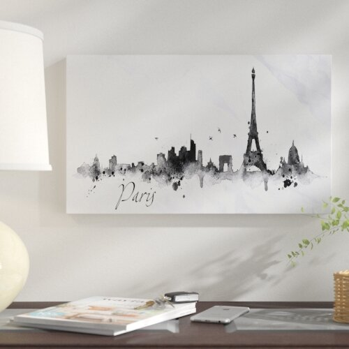 Cityscape Paris With Eiffel Silhouette Painting