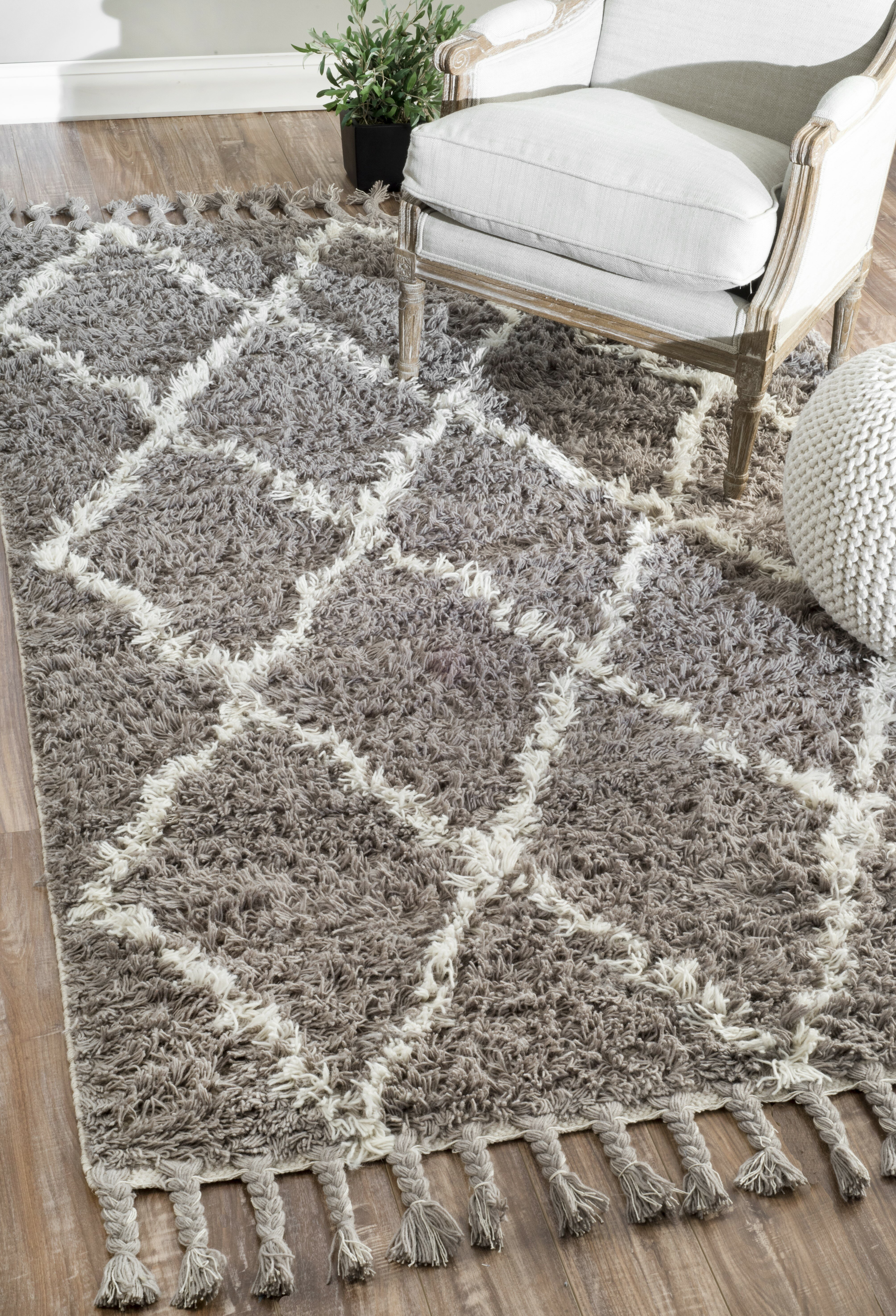 Luis Abstract Hand Knotted Wool Gray Area Rug Reviews Joss Main