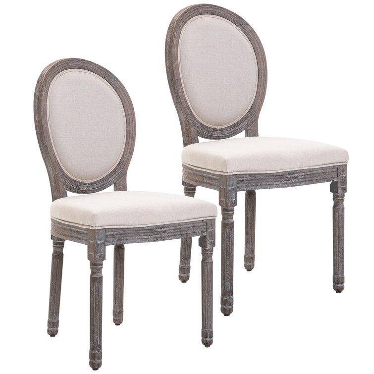 Ingersoll Linen King Louis Back Side Chair in Ivory