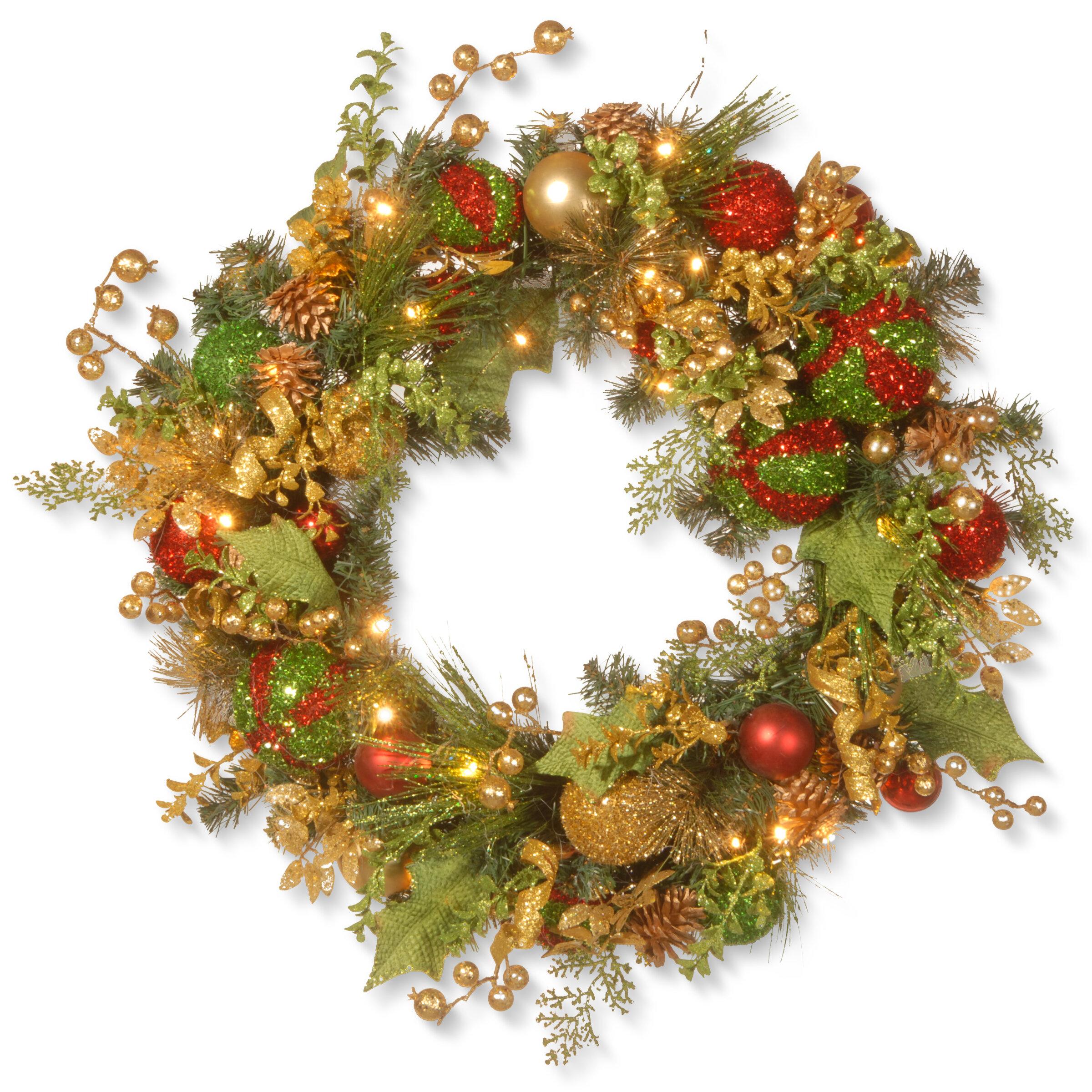 the holiday aisle 30 decorated christmas lighted wreath reviews wayfair