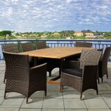 Dowd 9 Piece Teak Dining Set With Cushions