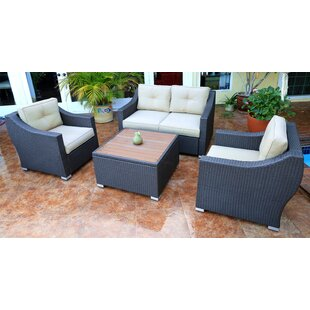 World Wide Wicker Tampa 4 Piece Sofa Seating Group with Cushions