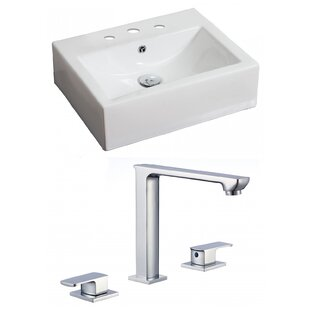 Trend Ceramic 21 Wall Mount Bathroom Sink with Faucet and Overflow By American Imaginations