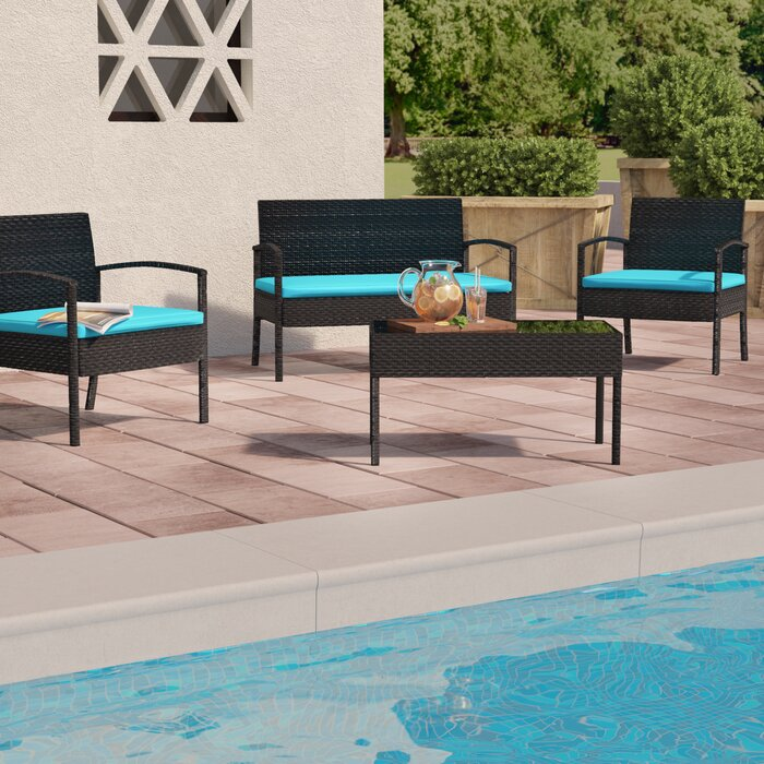 Roxana 4 Piece Rattan Sofa Seating Group with Cushions