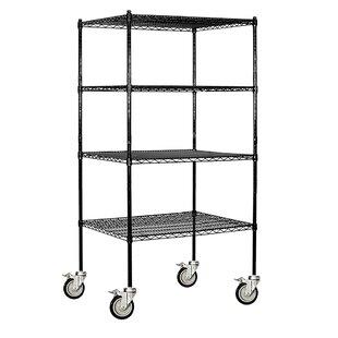 Wire 4 Shelf Shelving Unit Mobile