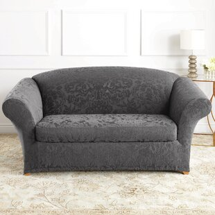 Stretch Jacquard Damask Box Cushion Loveseat Slipcover