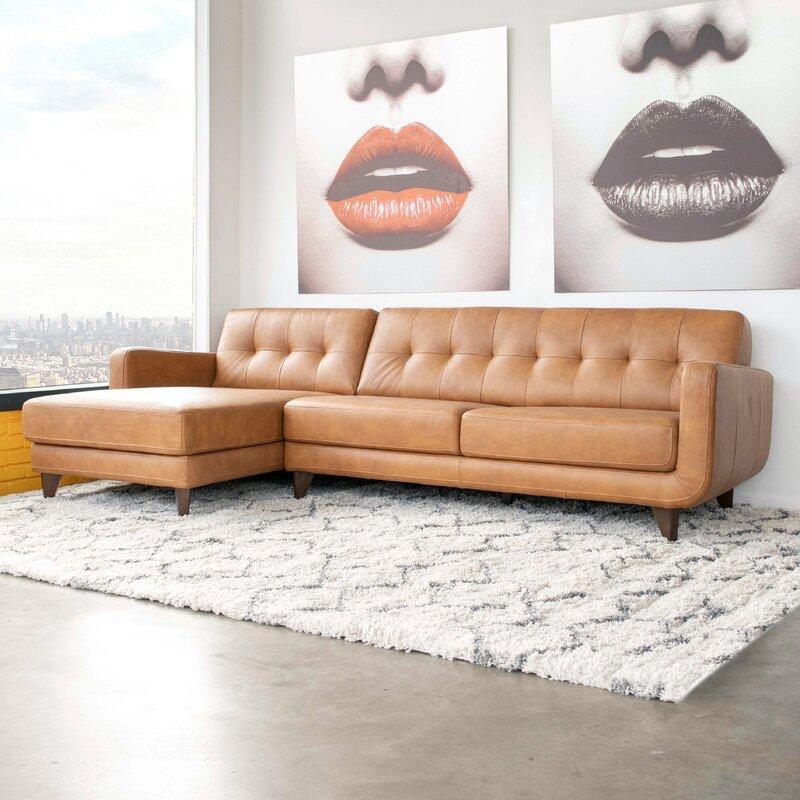 Corrigan Studio Elva 111 5 Wide Genuine Leather Sofa Chaise Reviews Wayfair