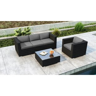 Glendale 3 Piece Sofa Set with Sunbrella Cushion by Everly Quinn