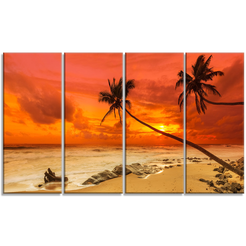 Designart Palms Silhouettes Bent To Seashore 4 Piece Wrapped Canvas Graphic Art Set On Canvas Wayfair