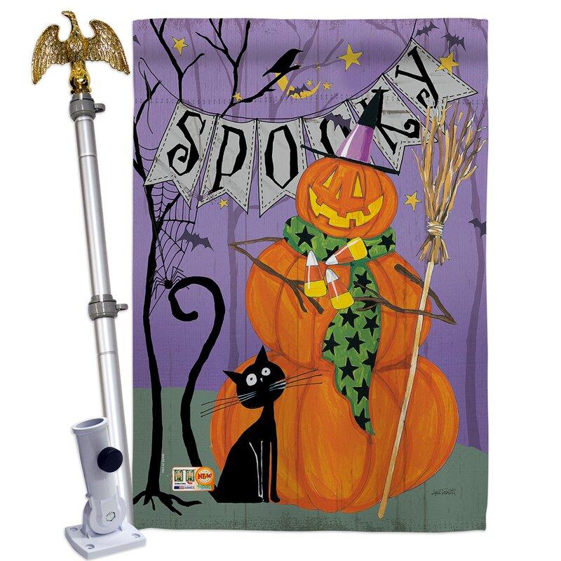 Breeze Decor Spooky Pumpkin Men 2 Sided Polyester 40 X 28 In Flag Set Wayfair