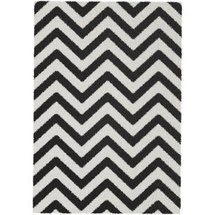 Cioffi High Pile Chevron Cream Black Rug