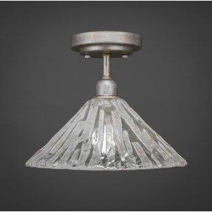 Williston Forge Kash 1-Light Italian Ice Glass Semi-Flush Mount