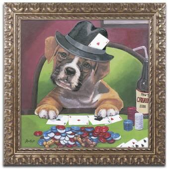 306cb0d36158 Trademark Art 'Poker Dogs 2' Framed Graphic Art Print on Canvas ...