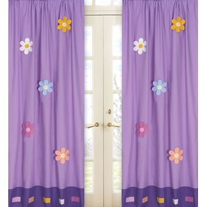 Danielle's Daisies Cotton Nature/Floral Semi-Sheer Rod Pocket Curtain Panels (Set of 2)
