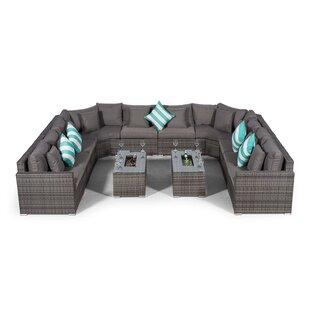 Villasenor Grey Rattan U Shape 10 Seat Sofa With 2 X Rectangle Ice Bucket Coffee Table, Outdoor Patio Garden Furniture Image